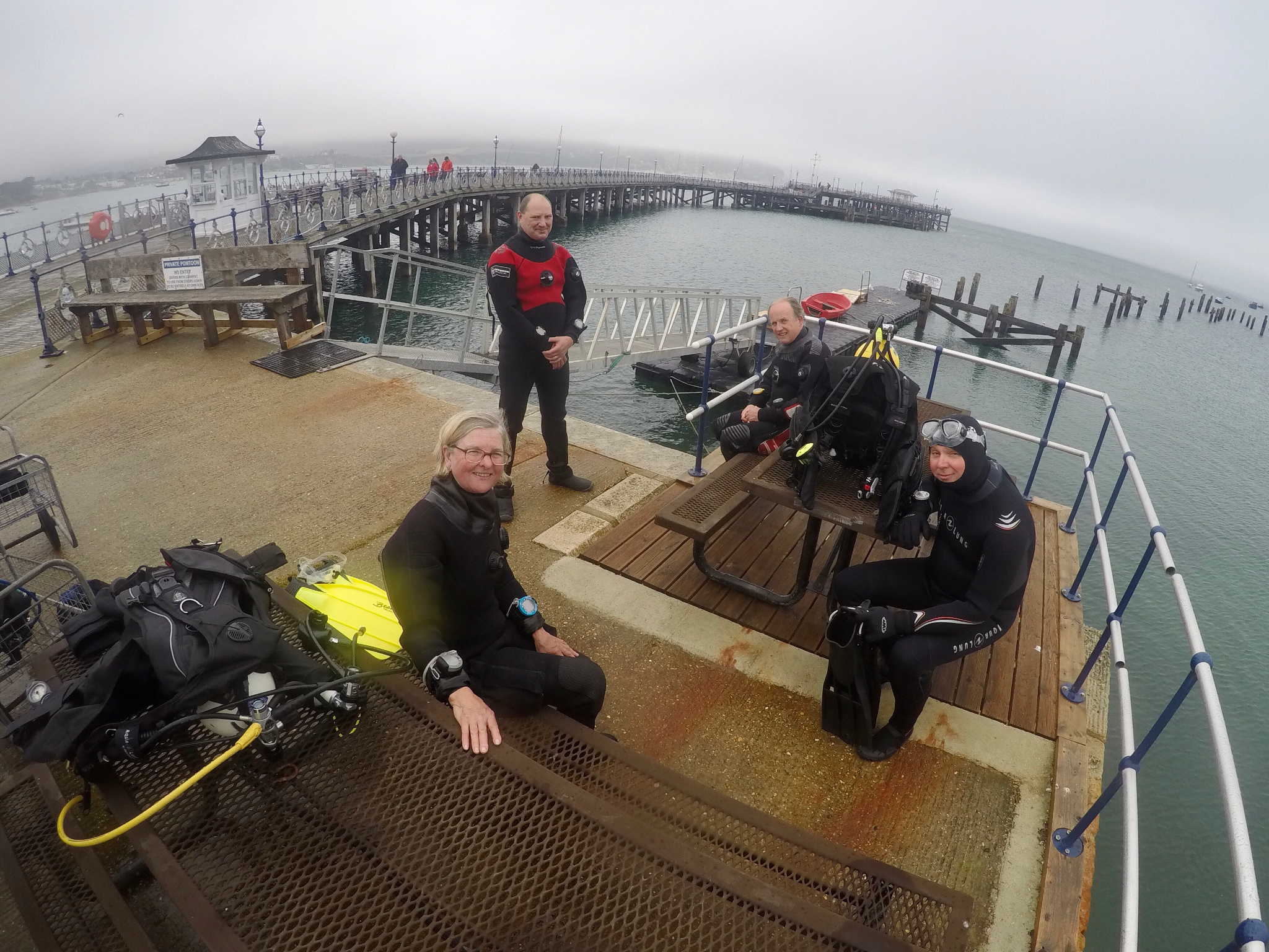 Relaxing between dives on Swanage Pier